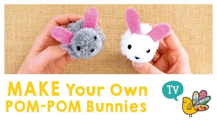 Create some cute and fluffy pom-pom bunnies