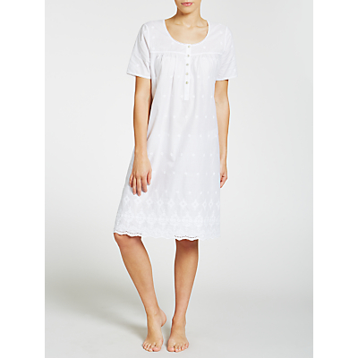 John Lewis Broderie Anglaise Short Sleeve Nightdress, White