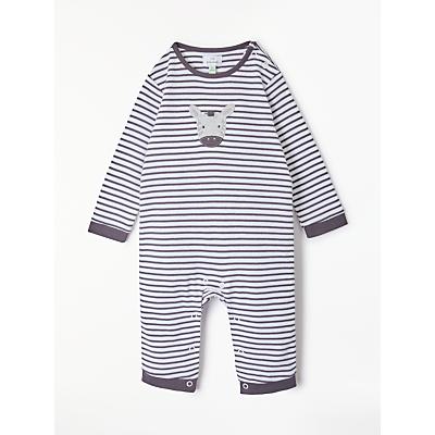 John Lewis Baby GOTS Organic Cotton Zebra Stripe Sleepsuit, Black/White
