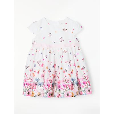 John Lewis Baby Border Print Bow Dress, White