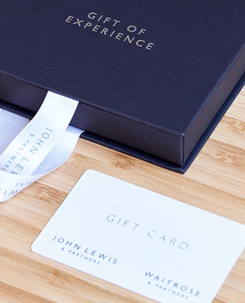 Close up photograph of a closed Gift Experience box and gift card