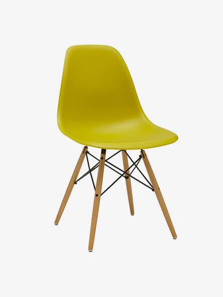 Vitra Eames DSW Side Chair, Light Maple Leg, Mustard
