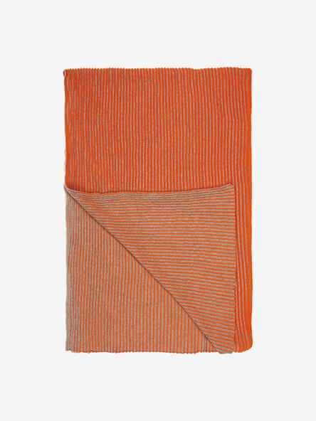 John Lewis & Partners Rib Knit Throw, Clementine