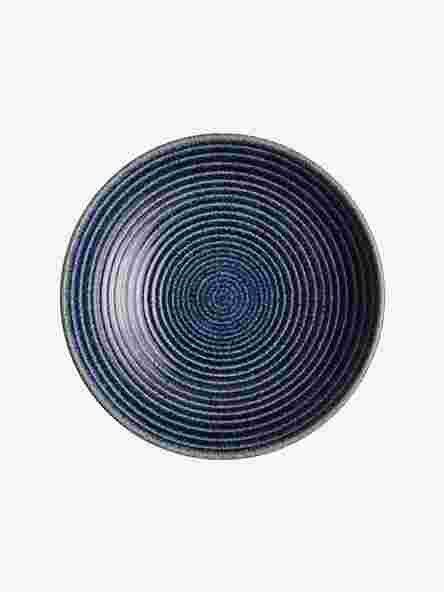Denby Studio Blue Medium Ridged Bowl, Blue Cobalt, Dia.25.5cm