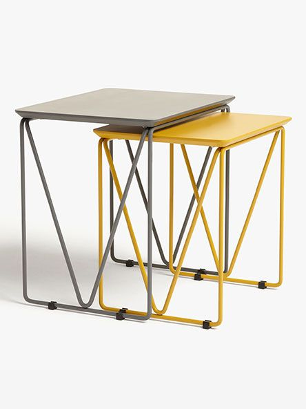 House by John Lewis Insert Nest of 2 Tables, Grey/Mustard