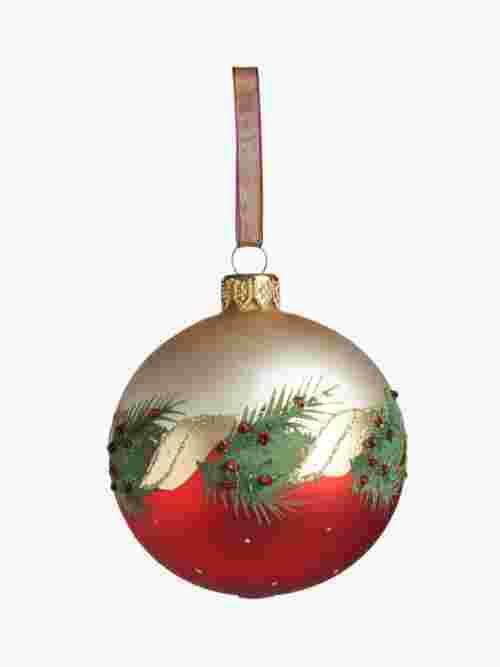 John Lewis & Partners Traditions Deco Holly Bauble, Multi