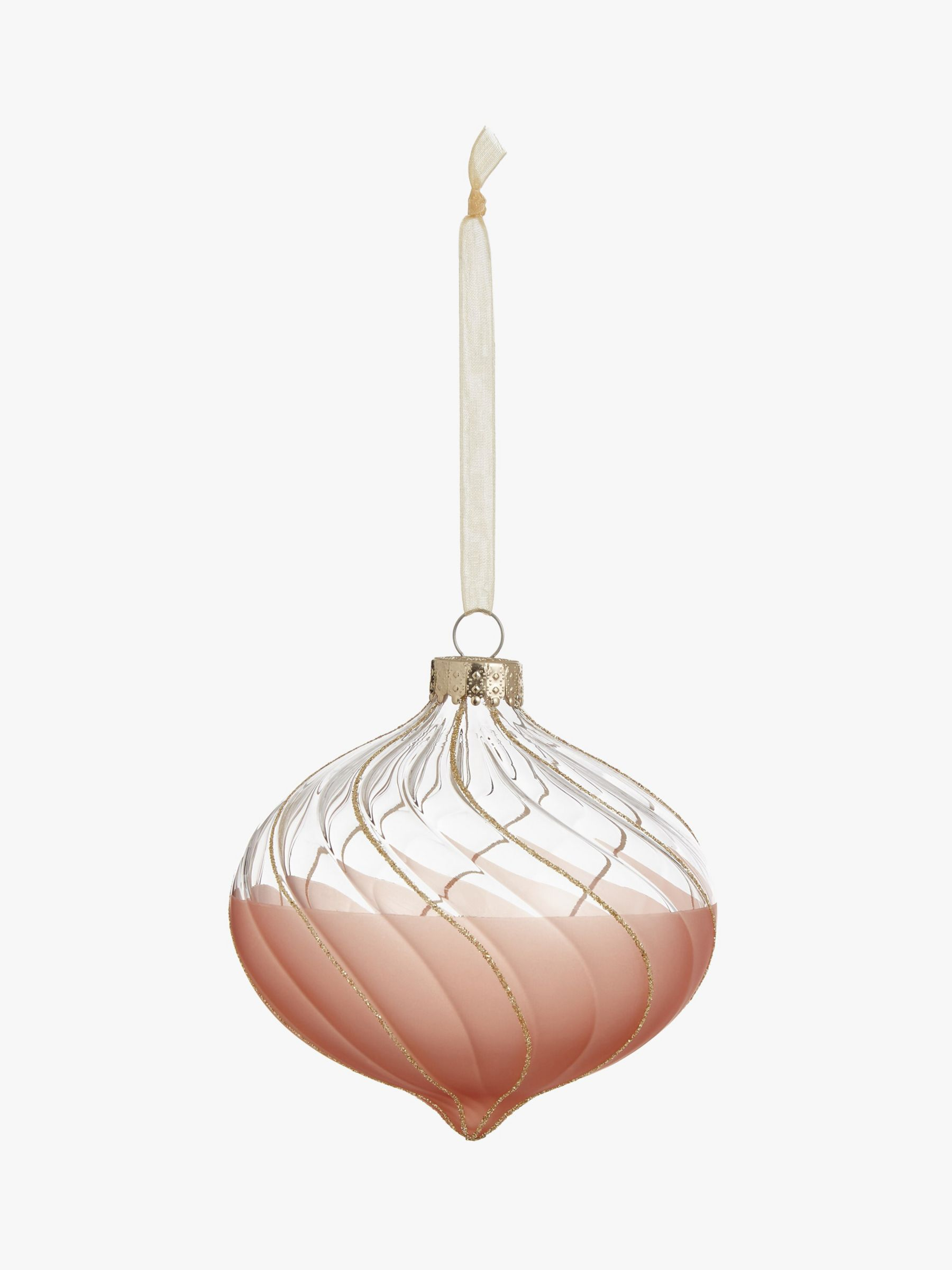 John Lewis & Partners Sanctuary Dipped Onion Bauble, Rose