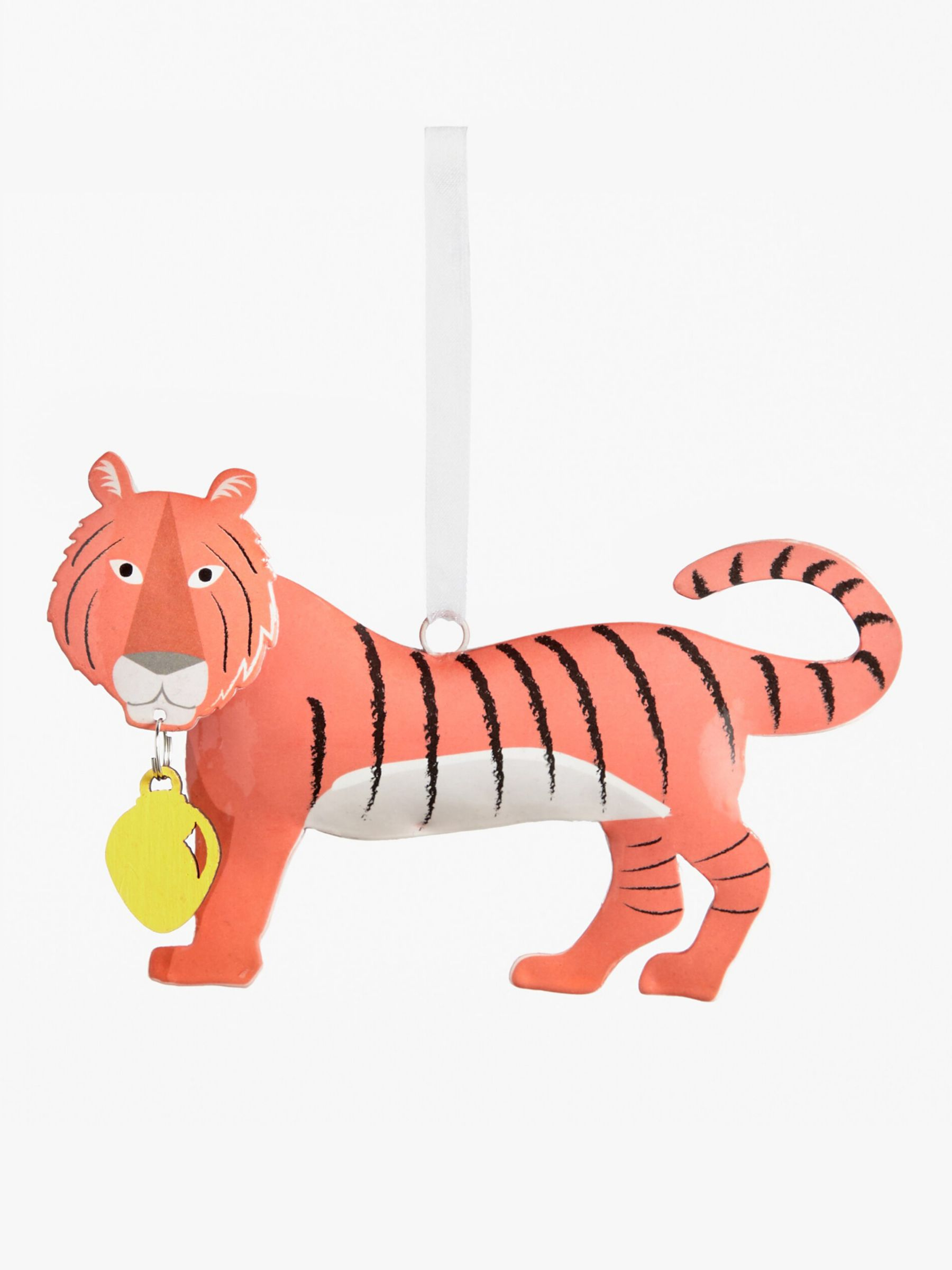 John Lewis & Partners ABC Tin Tiger Tree Decoration, Orange