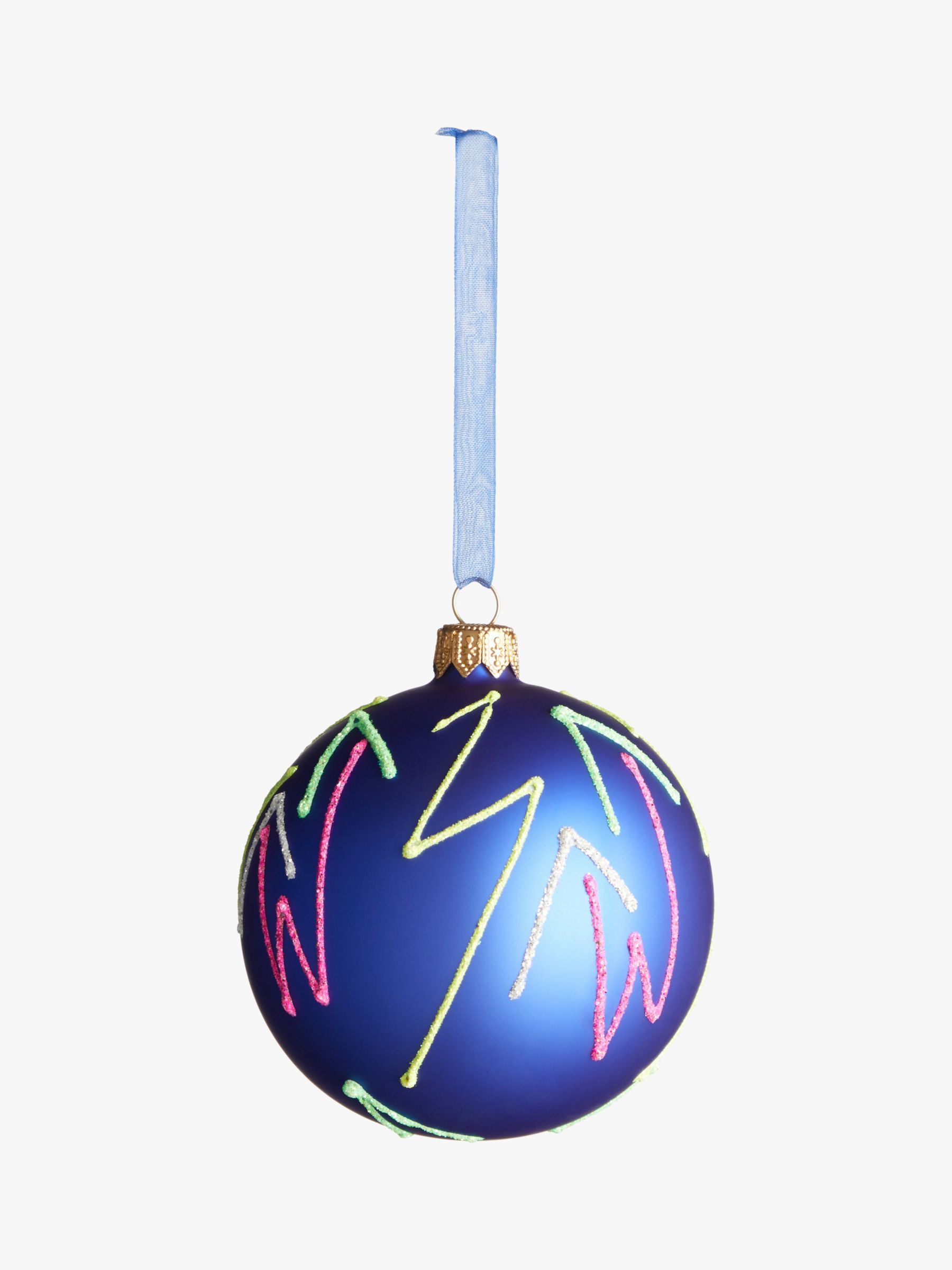 John Lewis & Partners Party Neon Squiggle Bauble, Multi