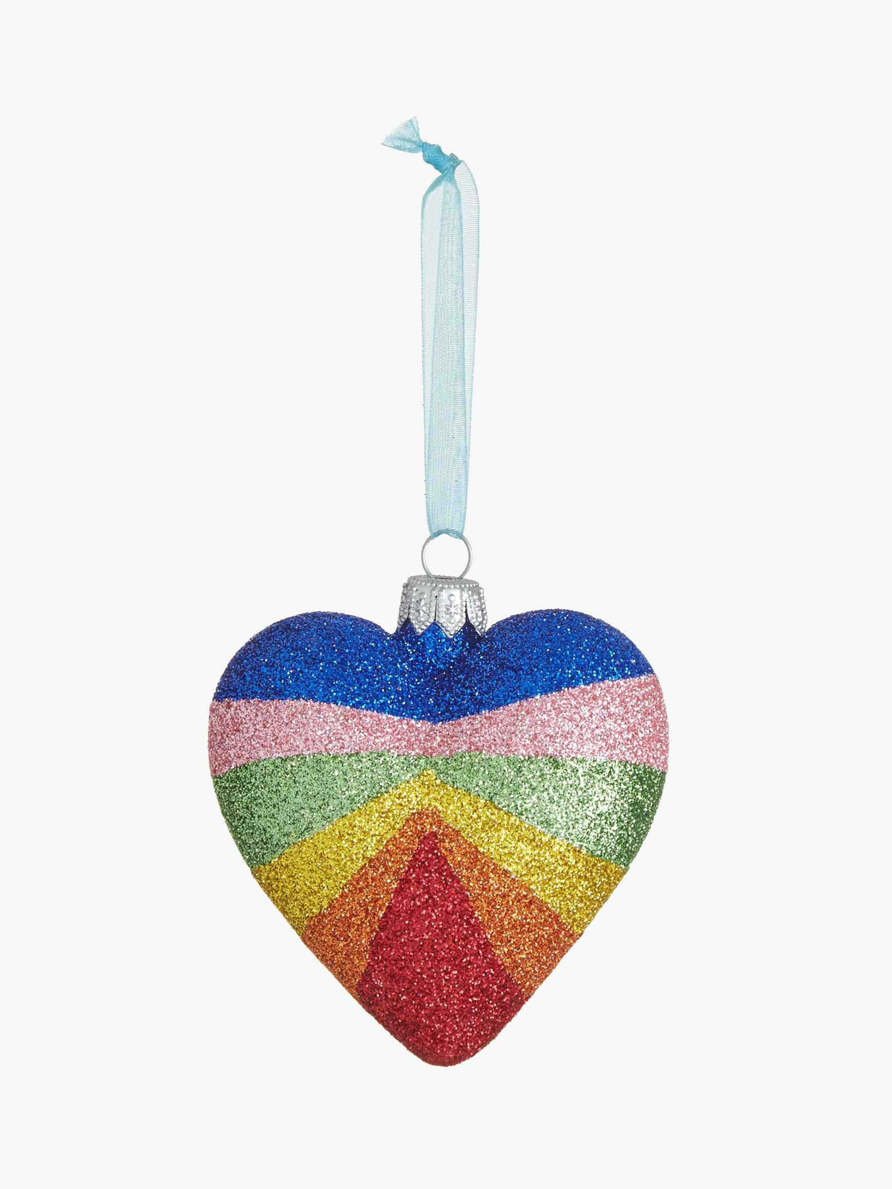 John Lewis & Partners Party Glitter Rainbow Heart, Multi