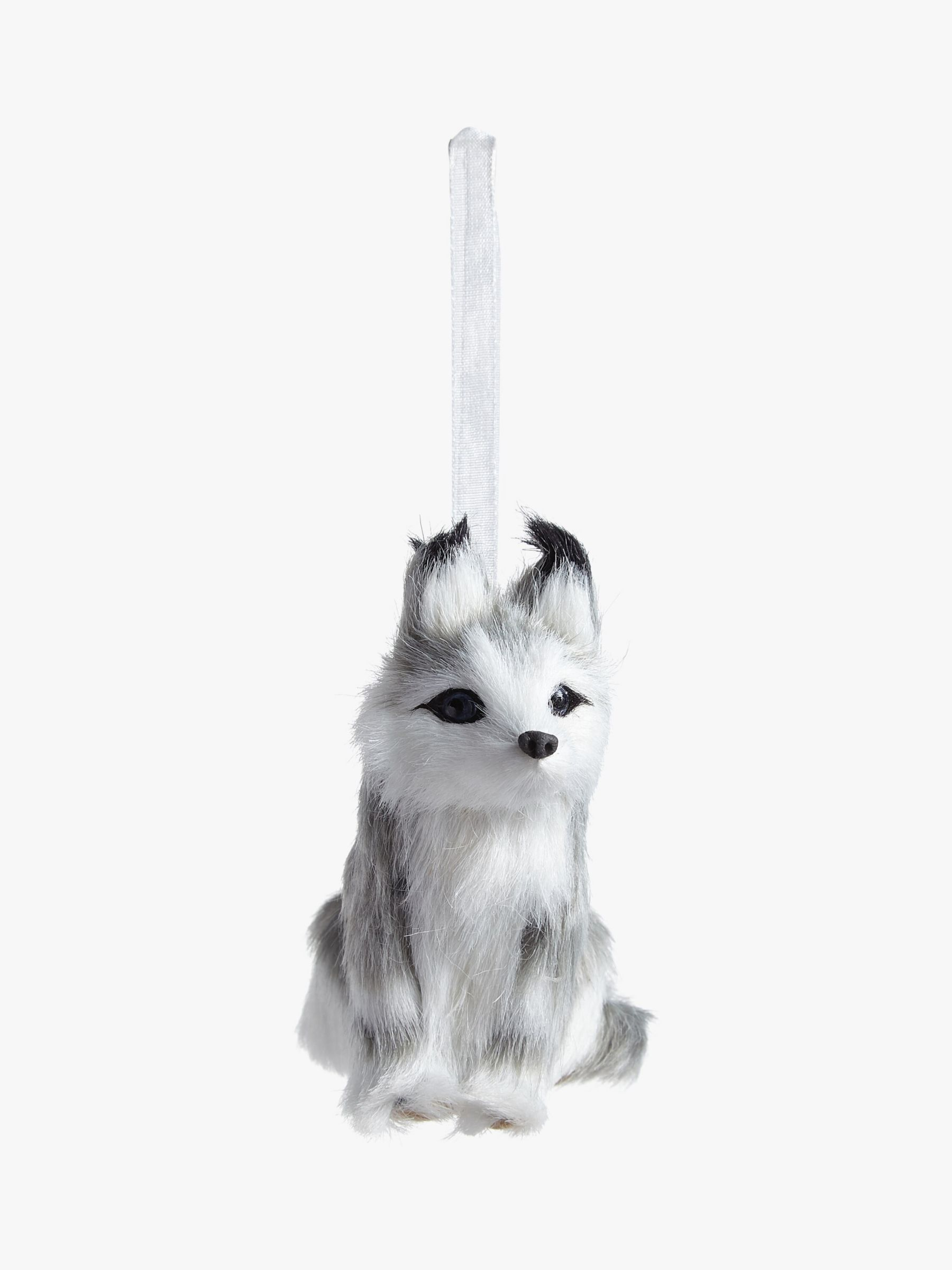 John Lewis & Partners Snowscape Dog Tree Decoration, White / Grey