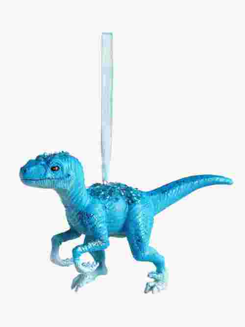 John Lewis & Partners ABC Velociraptor Dinosaur Tree Decoration, Blue