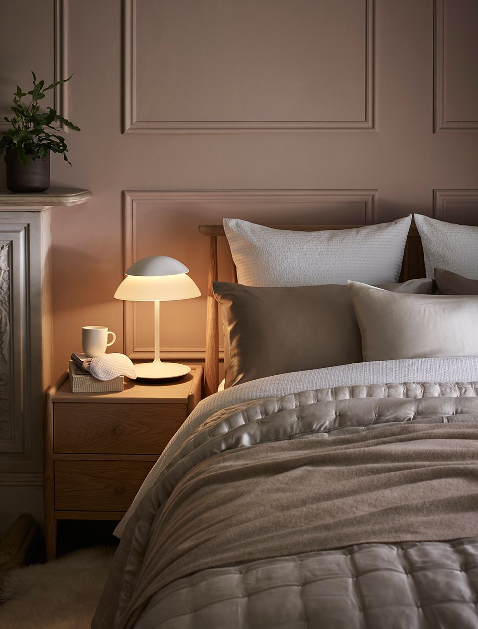 Beautiful guest bedroom with bedside table