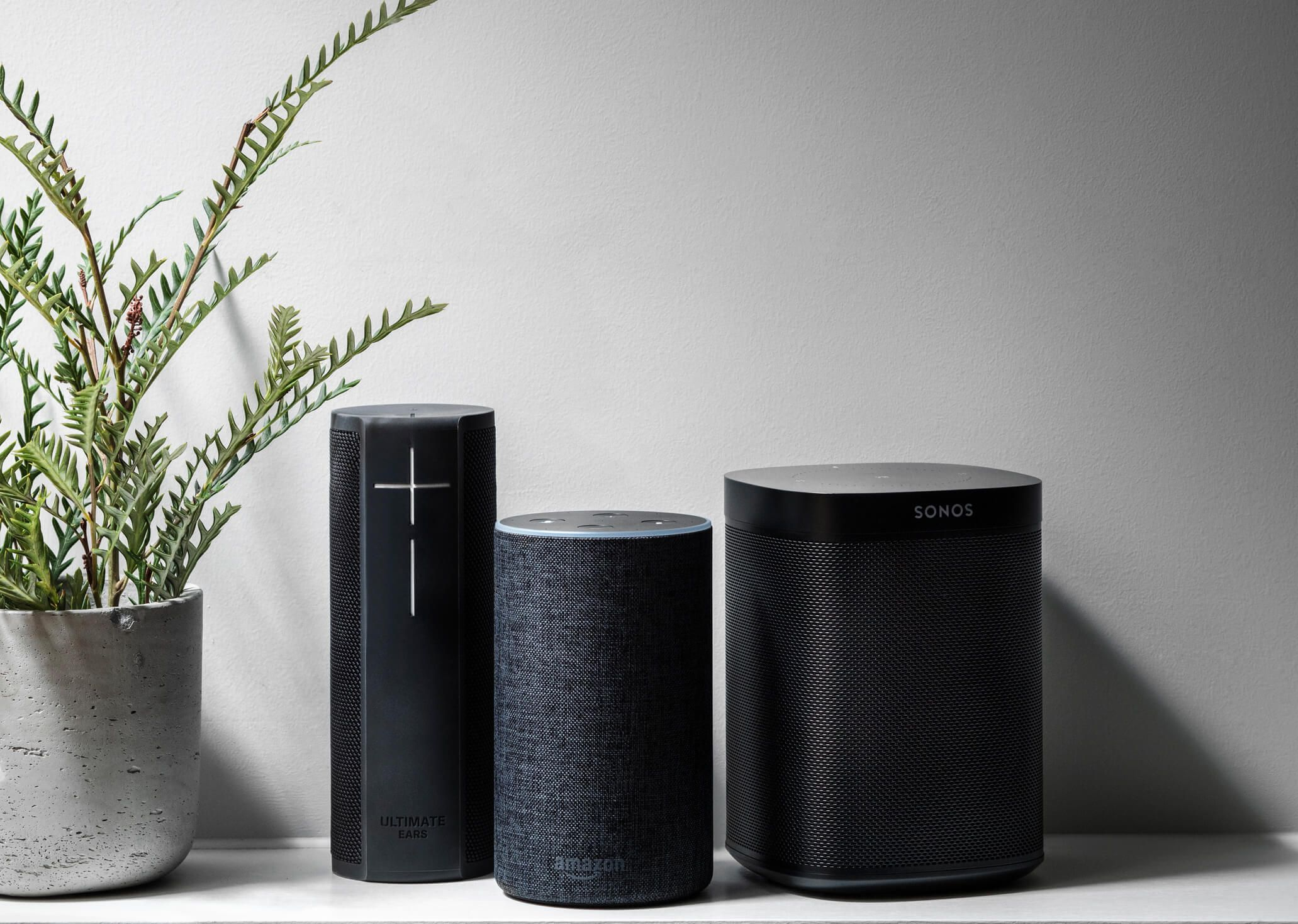 Speakers on a shelf