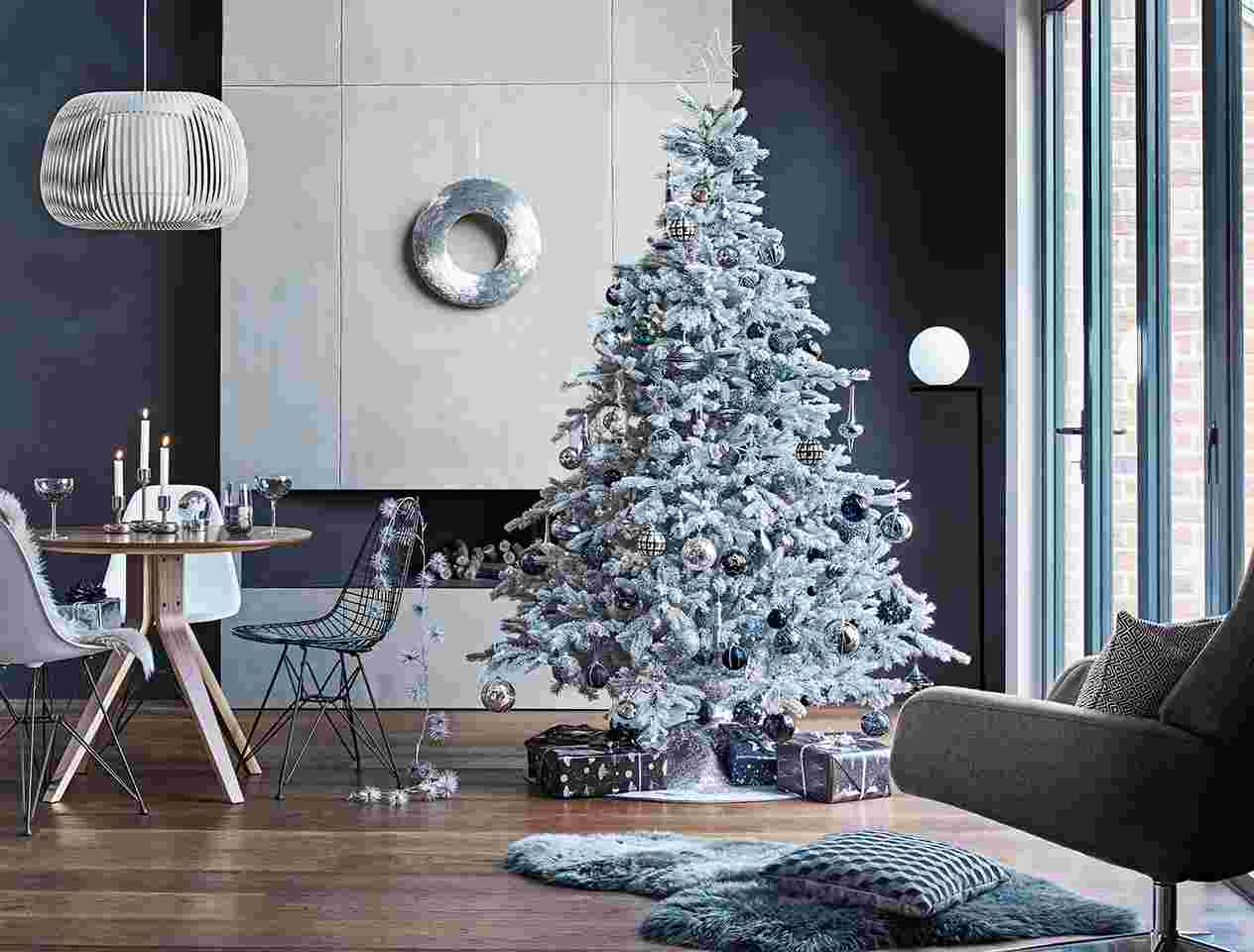 Modern room with white and black Christmas decor