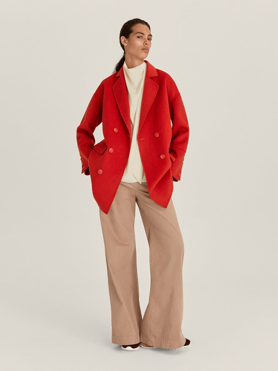 John Lewis & Partners red winter coat