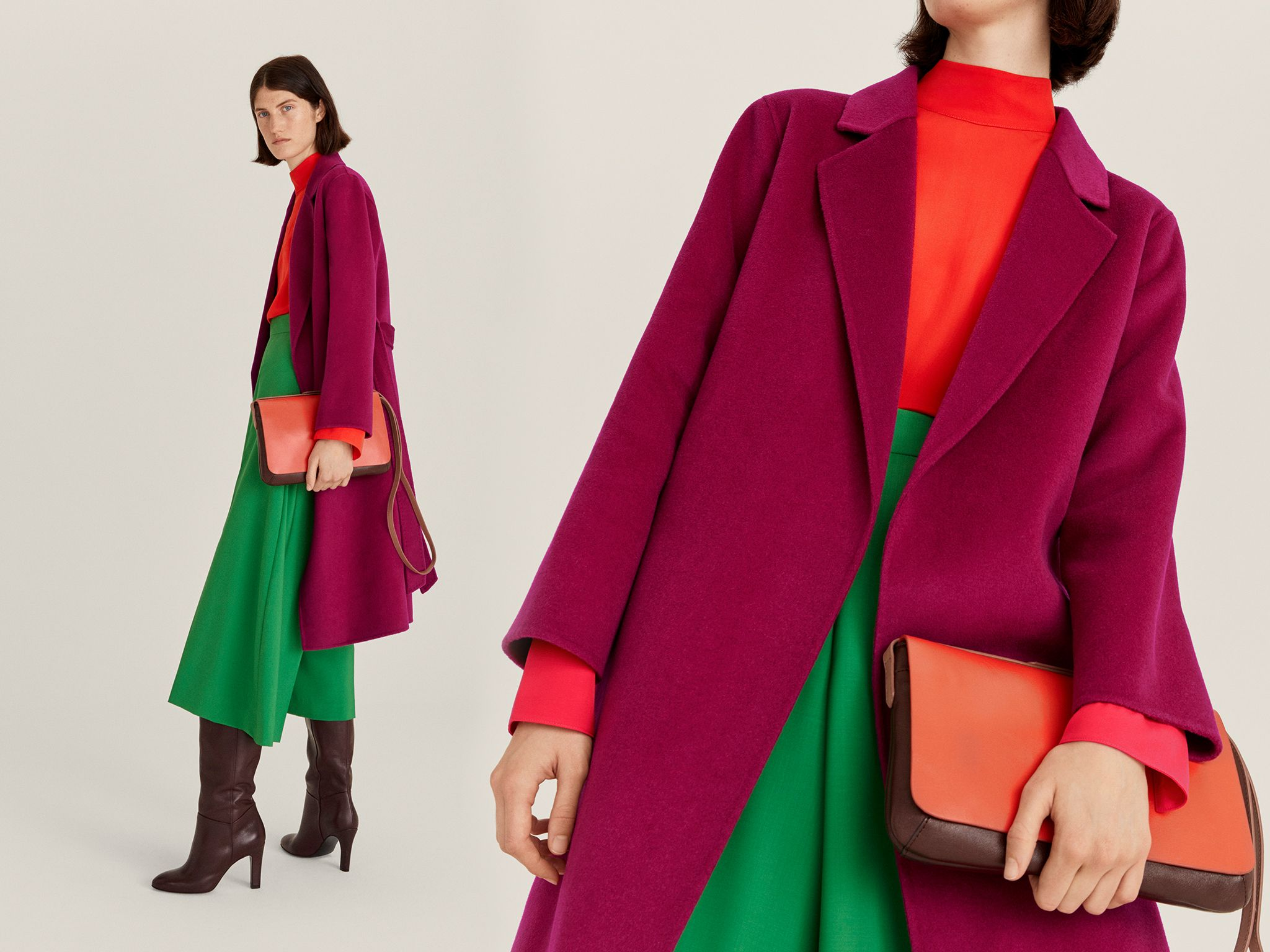 John Lewis & Partners magenta winter coat