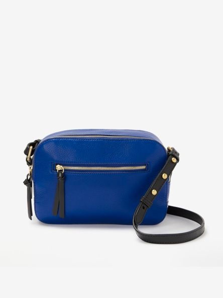 Blue leather cross-body bag