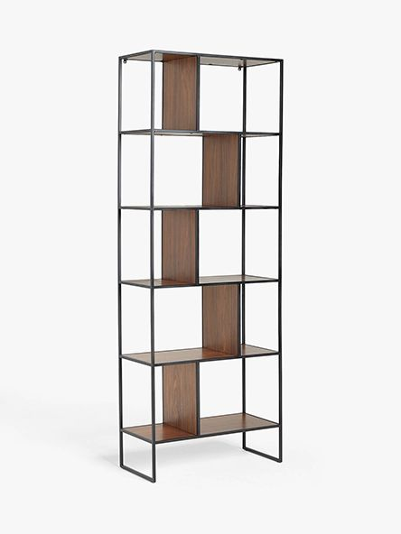 House by John Lewis Dice Tall Shelving Unit, Walnut/Black