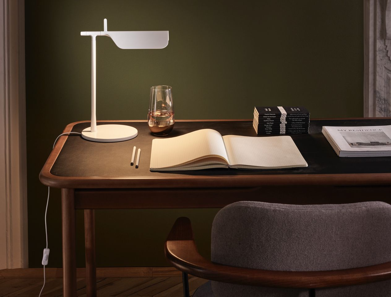 Writing desk with task lamp