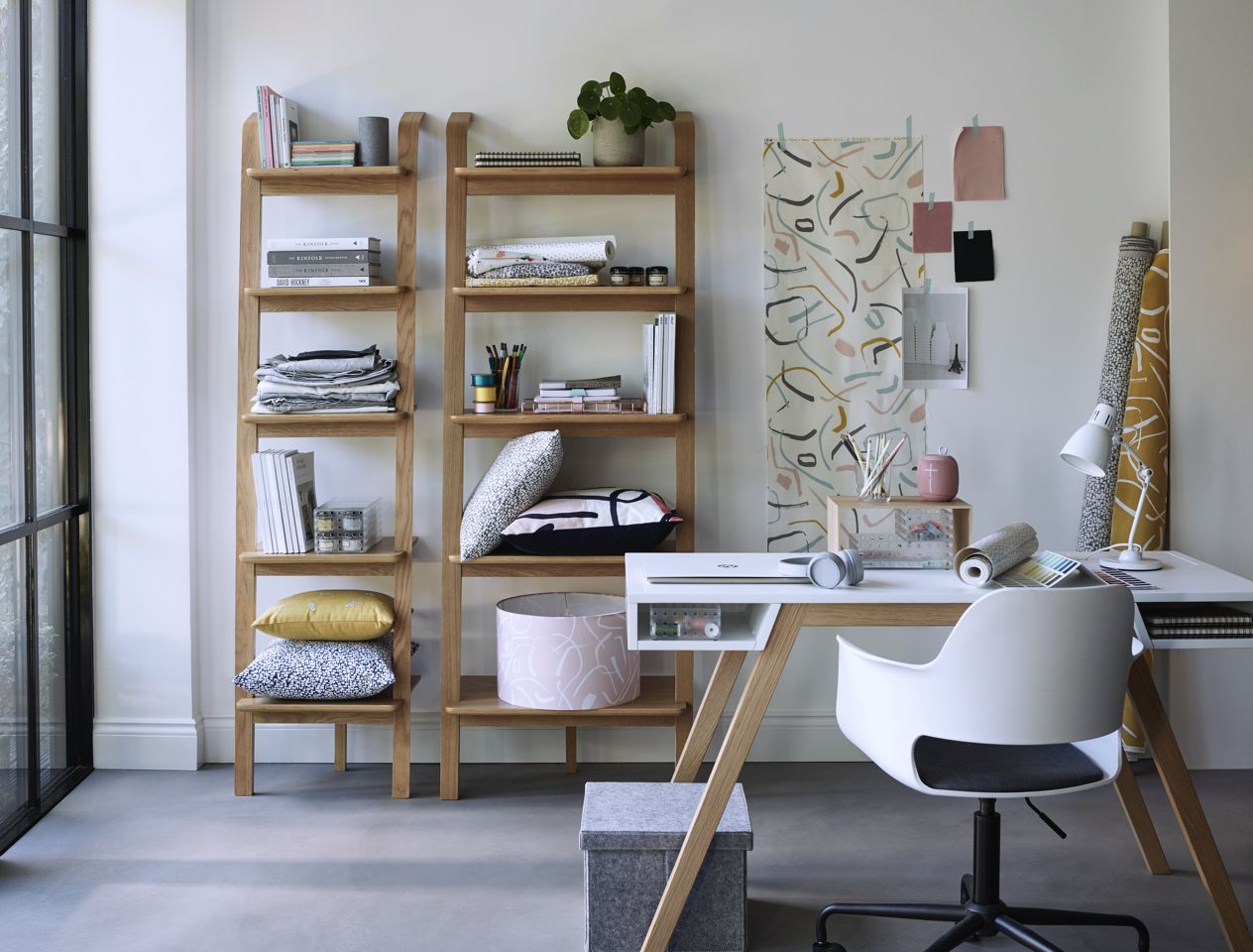 Desk with shelving storage