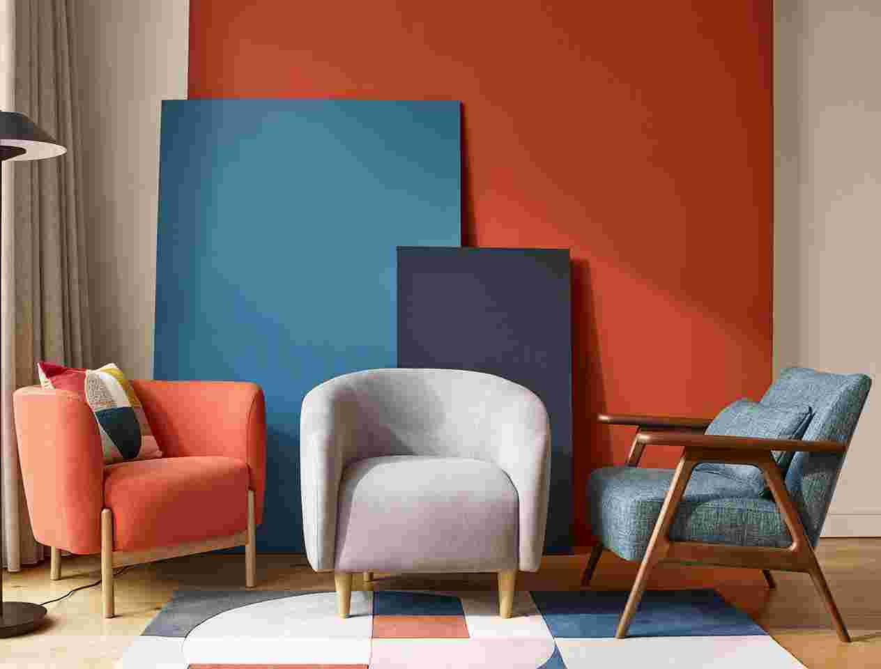 Colourful armchairs in a living room