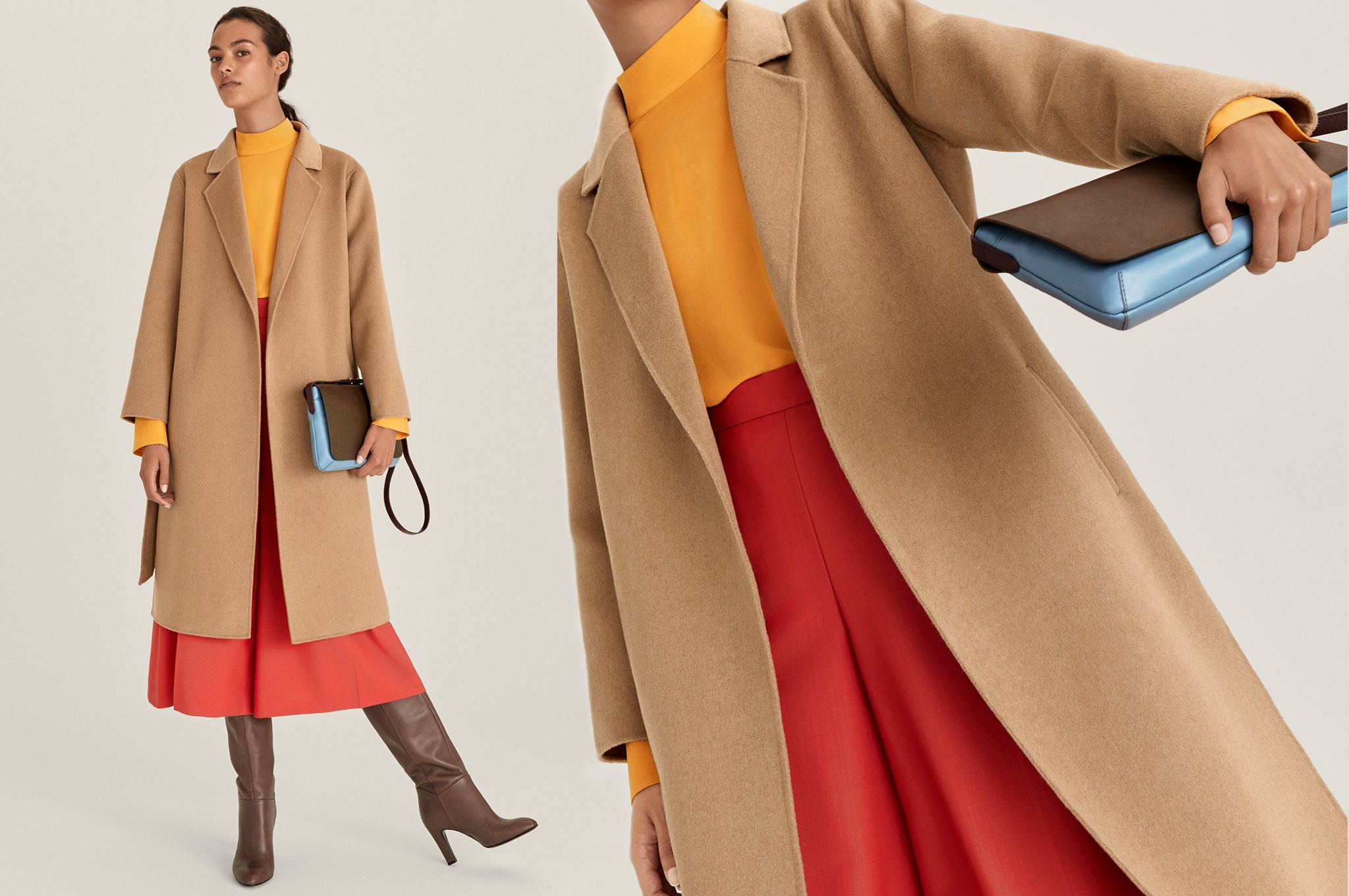 Model wearing camel coat, orange skirt and brown boots
