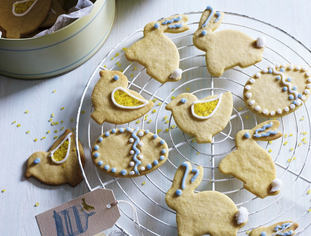 Delicious-looking bunny biscuits on a cooling tray