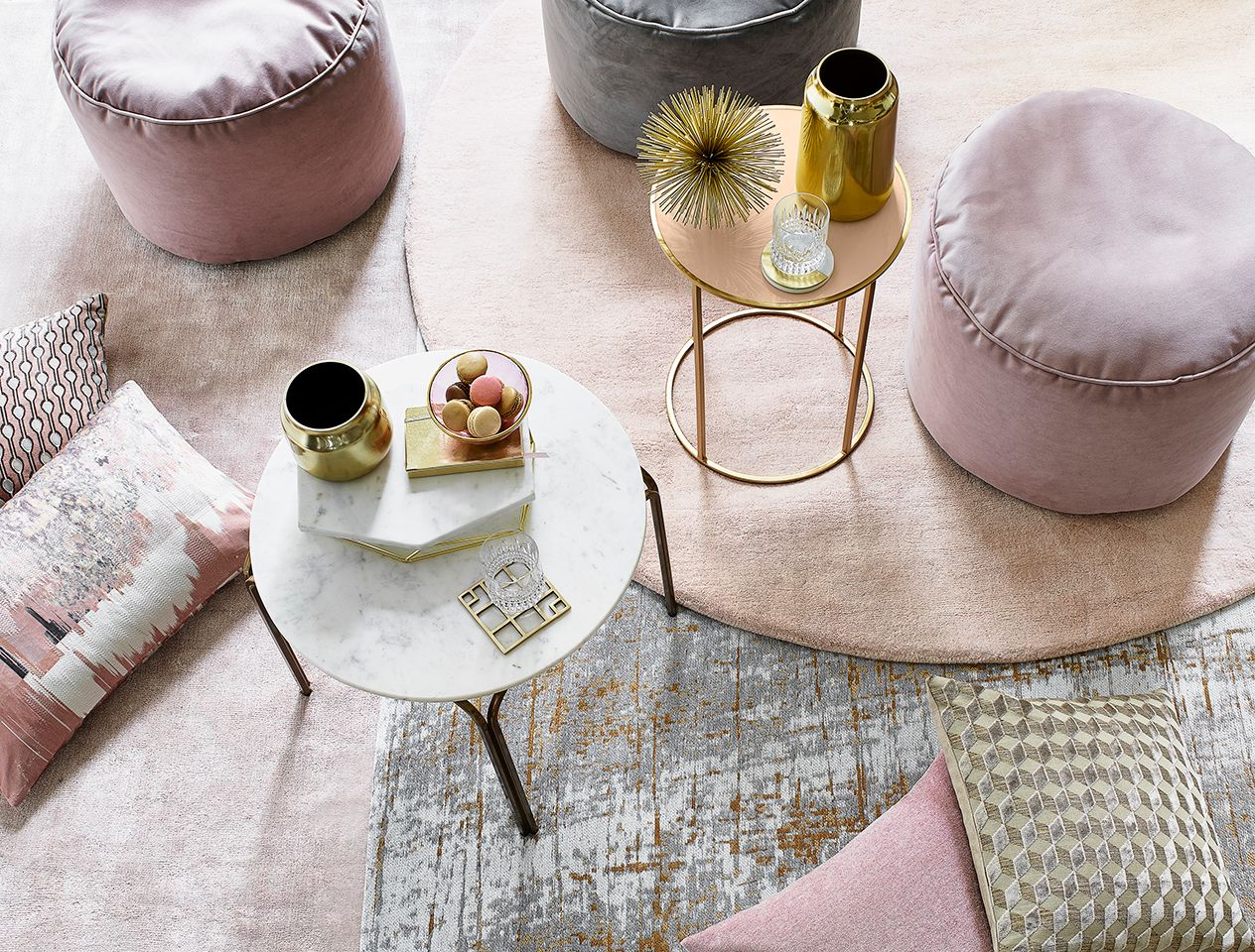 Pink footstools and cushions