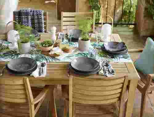 Outdoor entertaining tropical themed table