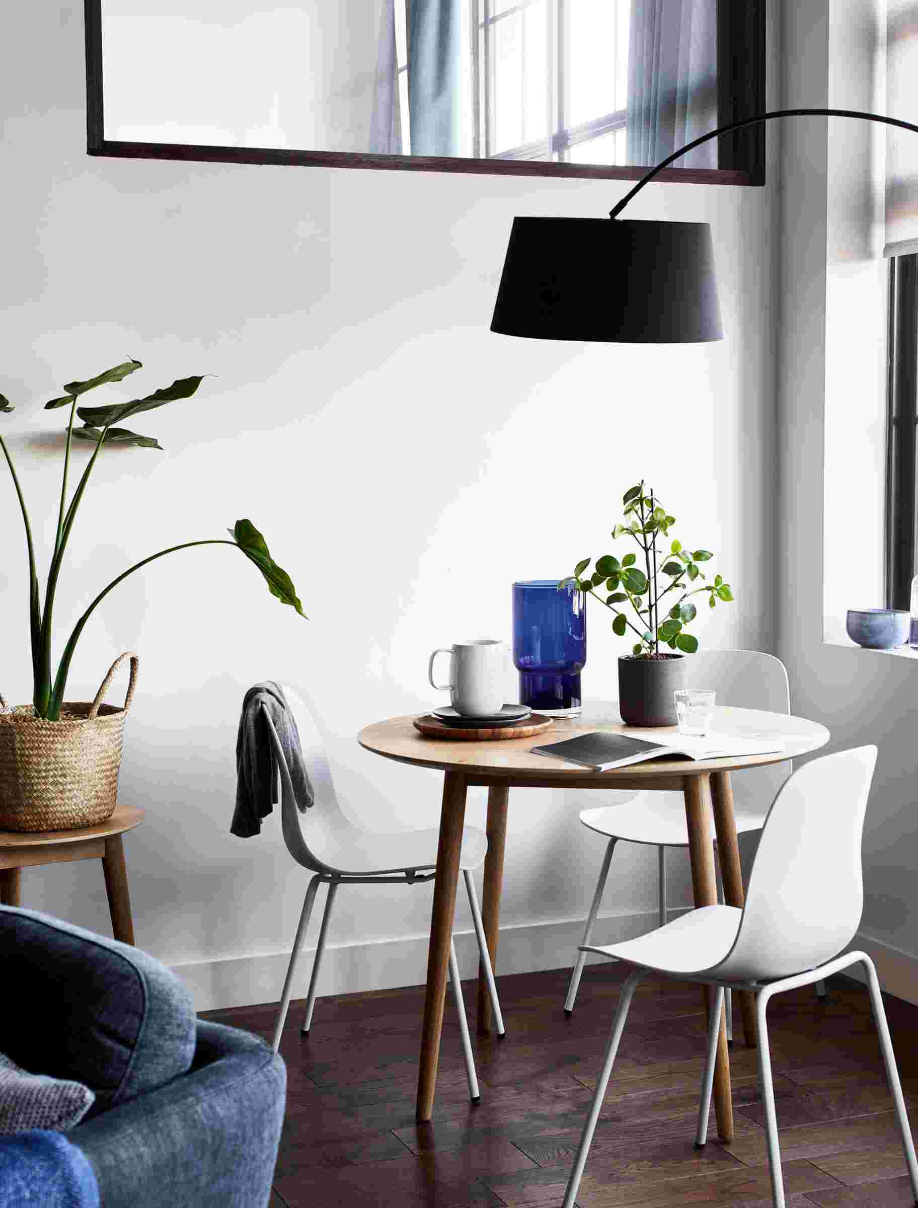 A modern dining area in a multifunctional living room