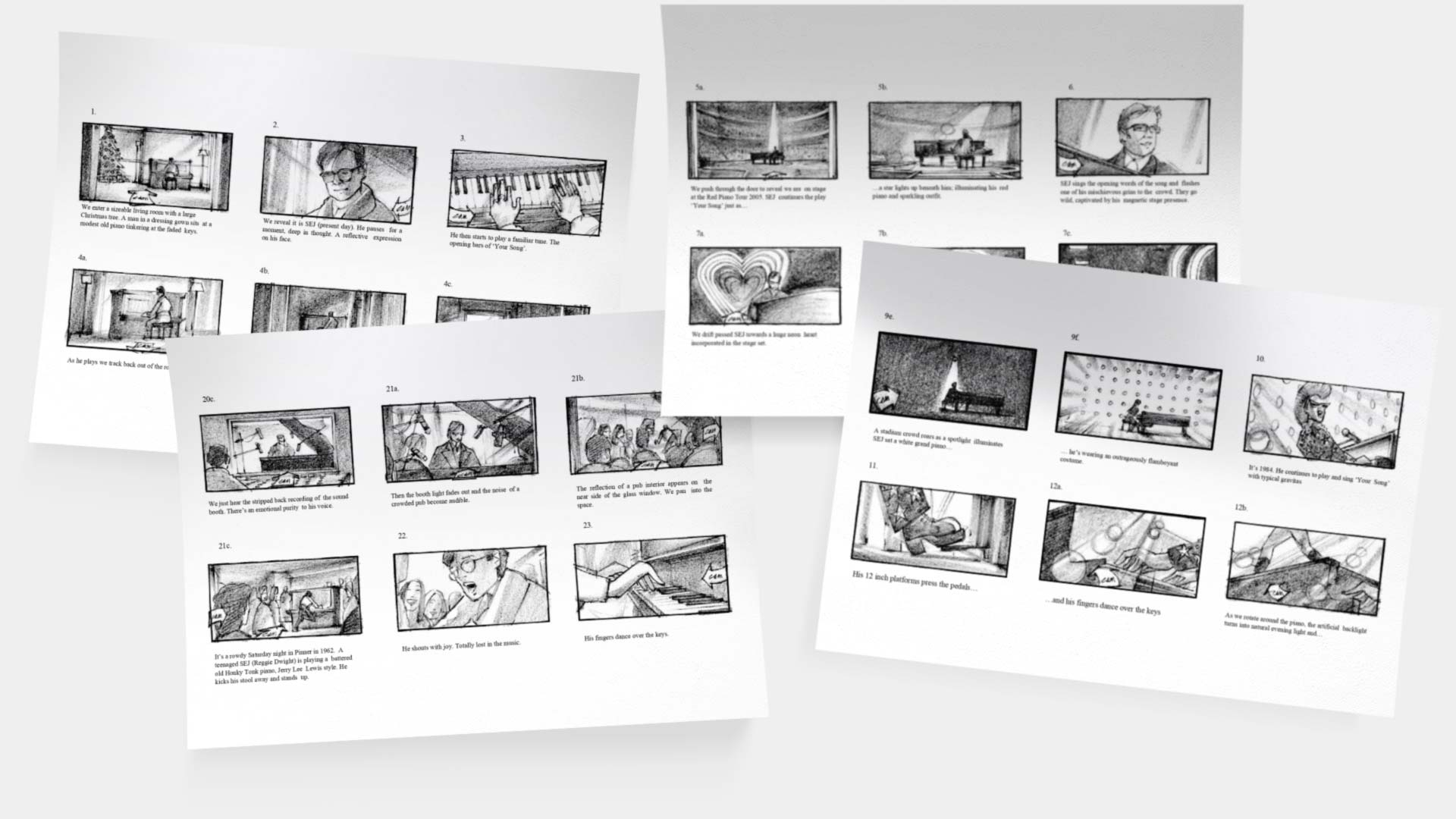 Sheets of paper showing sketched storyboard ideas for the advert