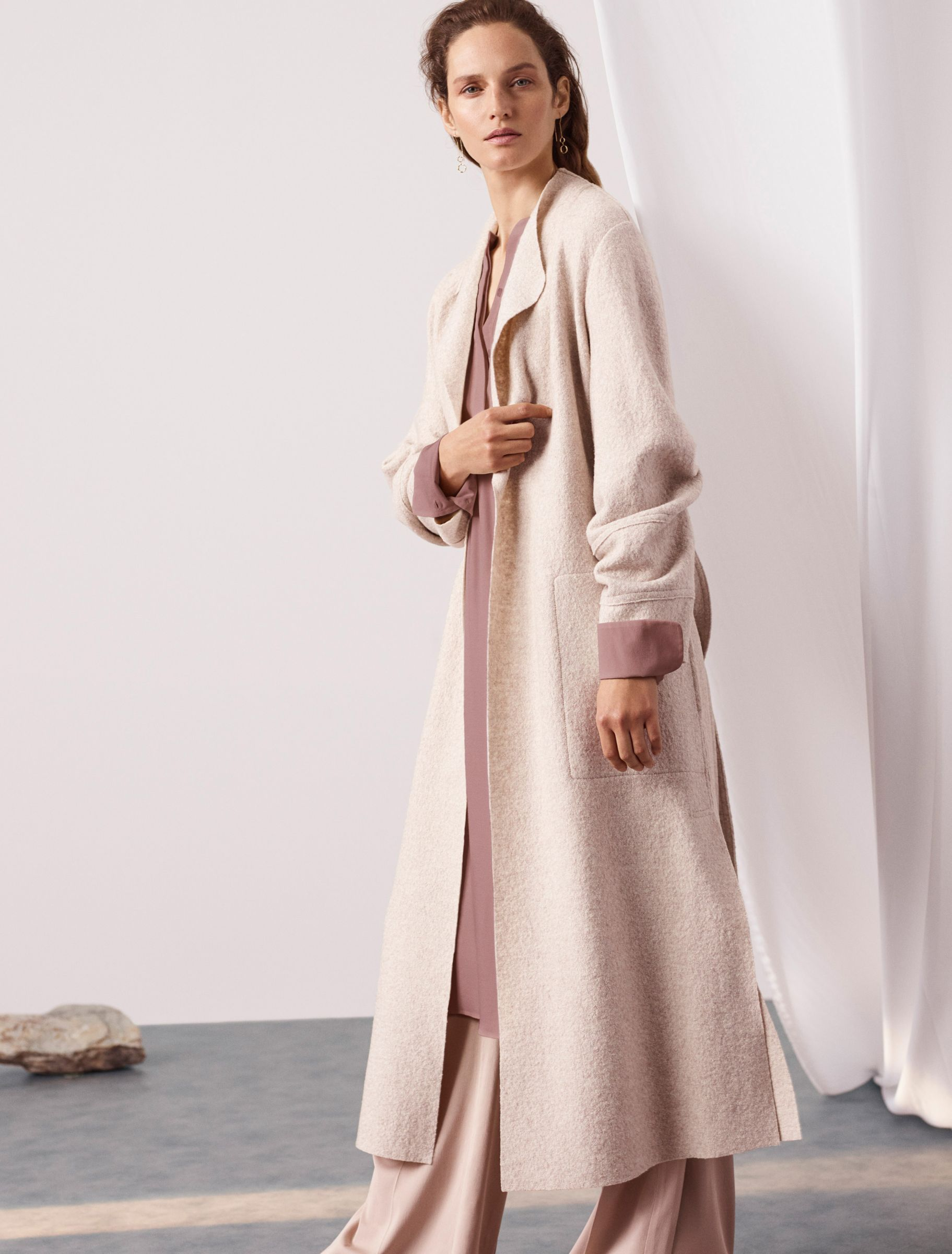 be7abaee4c1 Woman in dusky pink coat and trousers from the Modern Rarity collection at  John Lewis